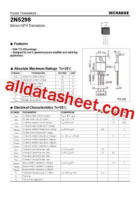transistor equivalent list free 2n5298 datasheet pdf list of unclassifed manufacturers