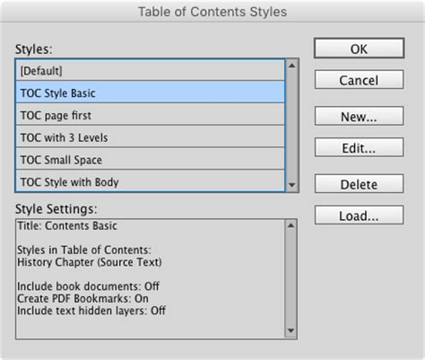 table of contents template indesign indesign template essentials tables of contents