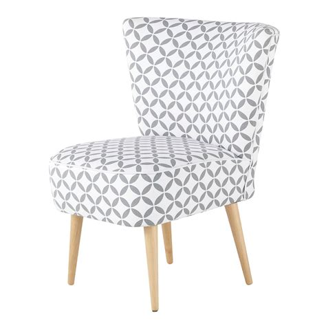 patterned armchair cotton patterned vintage armchair in grey and white scandinave maisons du monde