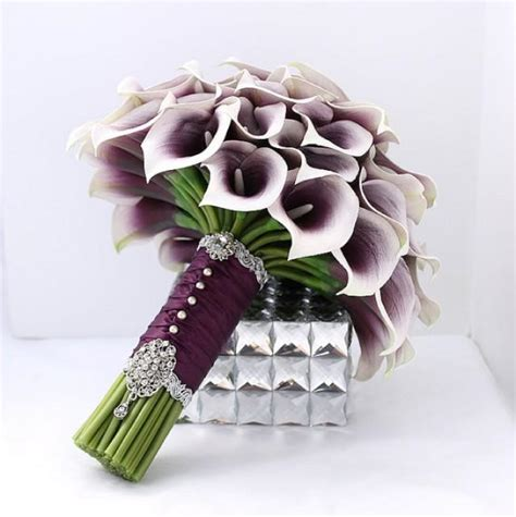 Wedding Bouquet With Calla Lilies by Majestic Purple Bridal Bouquet Real Touch Picasso Purple