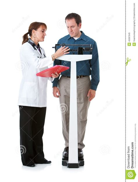 Physician Background Check Doctor Doctor Checks Patient S Weight Stock Photo Image 45087645
