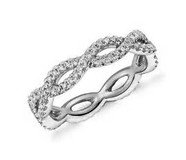 Infinity Twist Wedding Band Infinity Twist Eternity Ring In 14k White Gold 1 2 Ct Tw