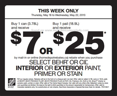 home depot paint printable coupons home depot behr paint rebate 5 1 gallon or 20