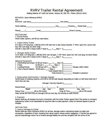 trailer template free sle trailer rental agreement template 7 free