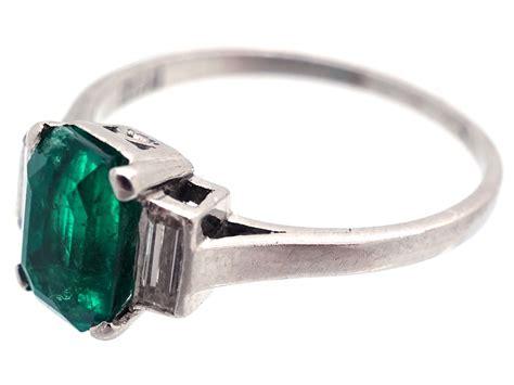 deco rectangular emerald baguette ring the