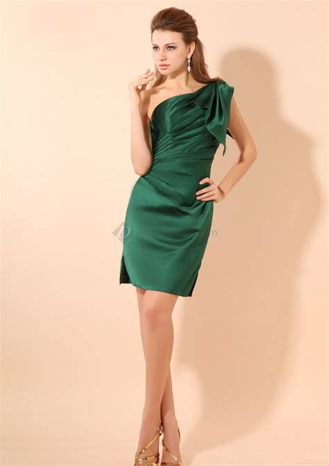 green cocktail affordable a line ruffles one shoulder dark green satin