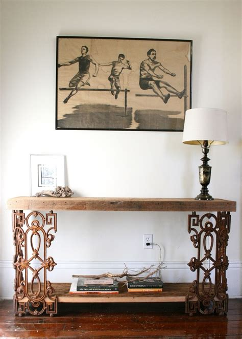 reclaimed wood and wrought iron sofa table crafted the piety table console table or writing desk