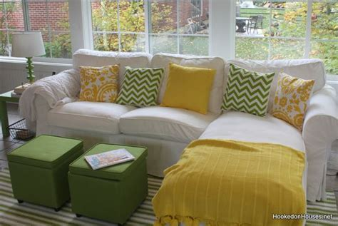 family room fireplace fall 2011 hooked on houses yellow and green sunroom ektorp sofa fall 2011 hooked on