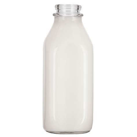 Milk Square 32 oz square quart clear glass milk bottle the cary company