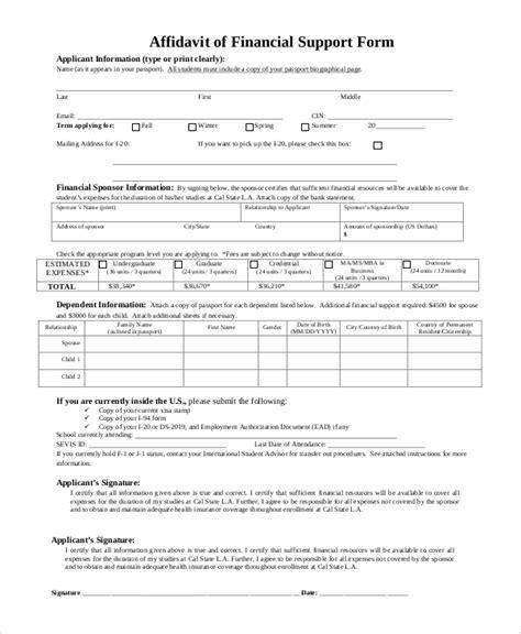 financial affidavit sle affidavit of support form 9 exles in pdf word