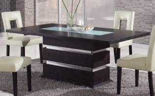 Contemporary Kitchen Tables Brown Contemporary Pedestal Dining Table With Glass Inlay