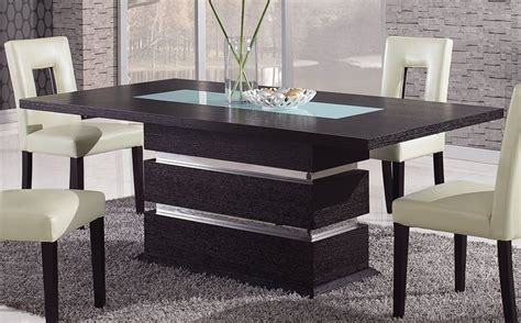 Contemporary Dining Table Brown Contemporary Pedestal Dining Table With Glass Inlay Naperville Illinois Gfg072dt