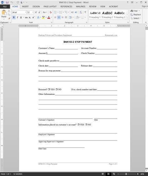 stop payment request template