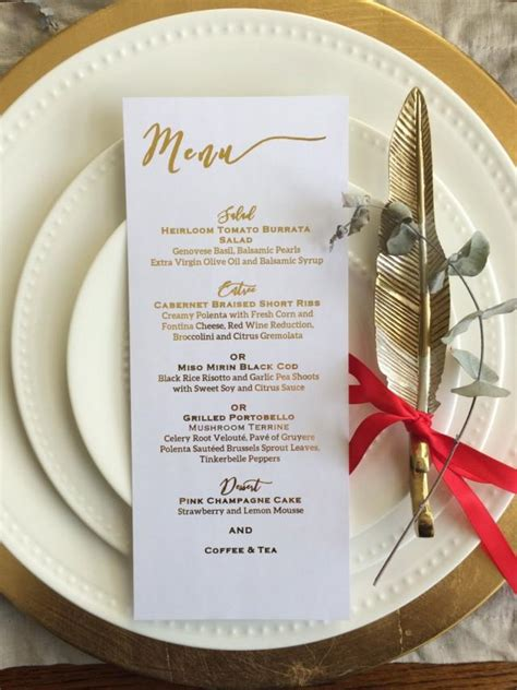 Template For Dinner Menus And Place Cards by Gold Foil Menu Card Dinner Menu Wedding Menu Wedding Menu