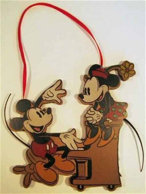 mickey mouse minnie mouse at the piano wooden ornament