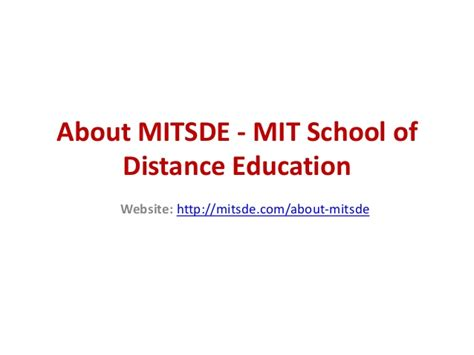 Mit Distance Learning Mba by About Mitsde Mit School Of Distance Education