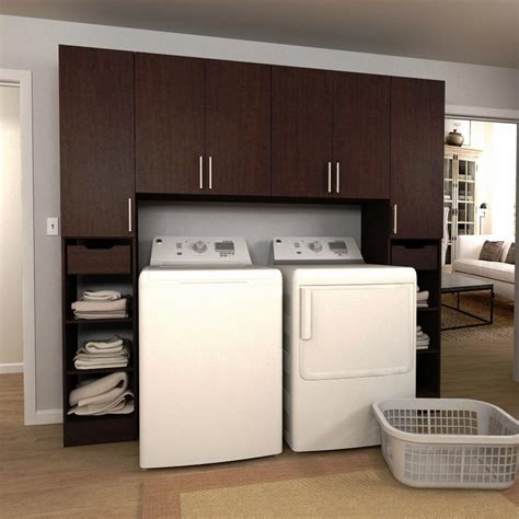 Storage Cabinet For Laundry Room Modifi Horizon 90 In W Mocha Tower Storage Laundry Cabinet Kit Enl90a Hmg The Home Depot