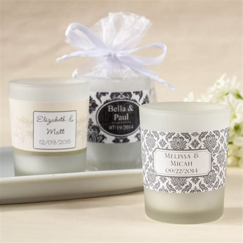 Candle Giveaways - personalized frosted glass votive wedding candle favors