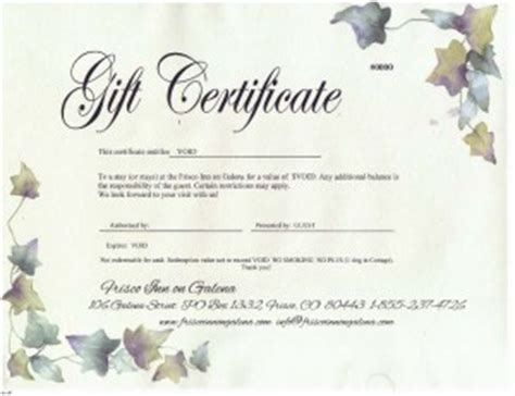 hotel gift certificate template frisco co hotels gift certificates frisco inn on galena