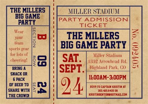 football ticket invitation template ticket templates free premium templates