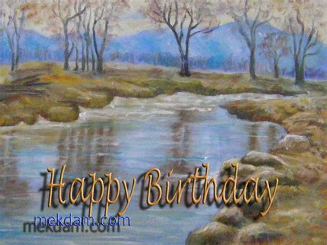 Landscape Birthday Pictures Happy Birthday Calm Landscape Painting On Canvas