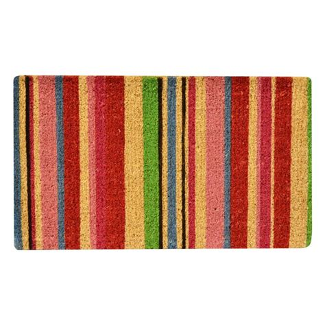 Coir Doormat by Hometrax Designs Outdoor Stripes 1 Ft 6 In X 2 Ft 6 In