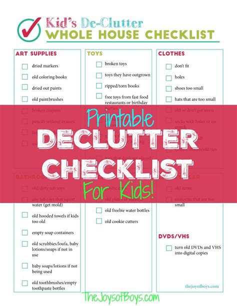 organize my house checklist printable declutter checklist for kid s clutter kid my