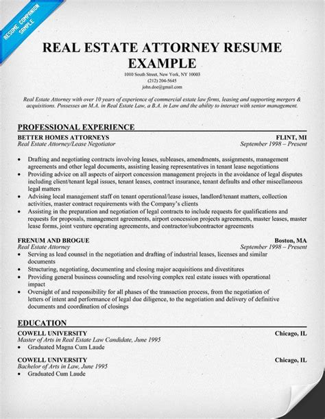 real estate resume templates free real estate attorney resume exle resume sles