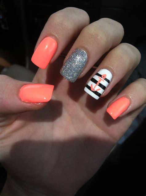 summer acrylic nail designs with anchor summer nail art anchor nail art ideas