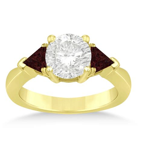 garnet three trilliant engagement ring 18k yellow
