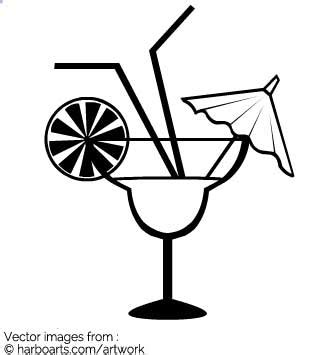 margarita clipart black and white fancy cocktail vector graphic
