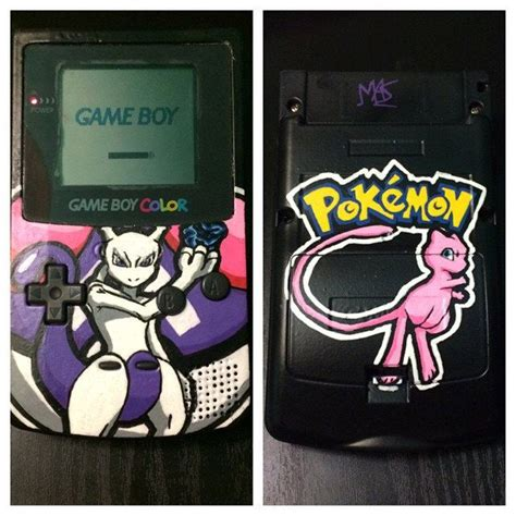 custom gameboy color custom painted mewtwo gameboy color with mew back