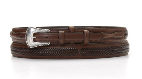 na 24768 02 brown leather ranger belt wth leather
