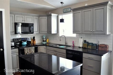 Grey Kitchen Cabinets With Black Countertops by Black Appliances And White Or Gray Cabinets How To Make