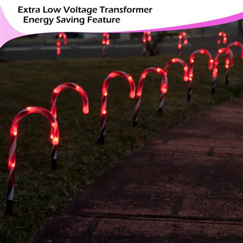 led candy cane path lights 20pc outdoor christmas lights led mini candy canes path