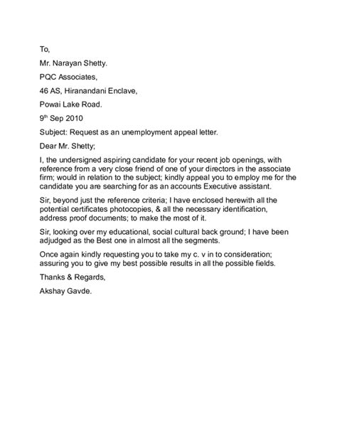 free unemployment appeal letter template search results for exle of unemployment appeal letter
