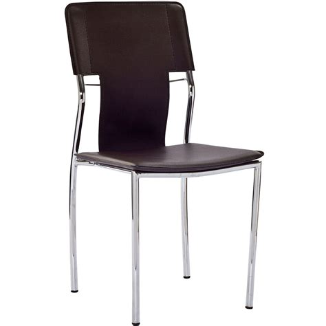 Vinyl Dining Chair Studio Modern Vinyl Dining Side Chair With Chrome Frame Brown