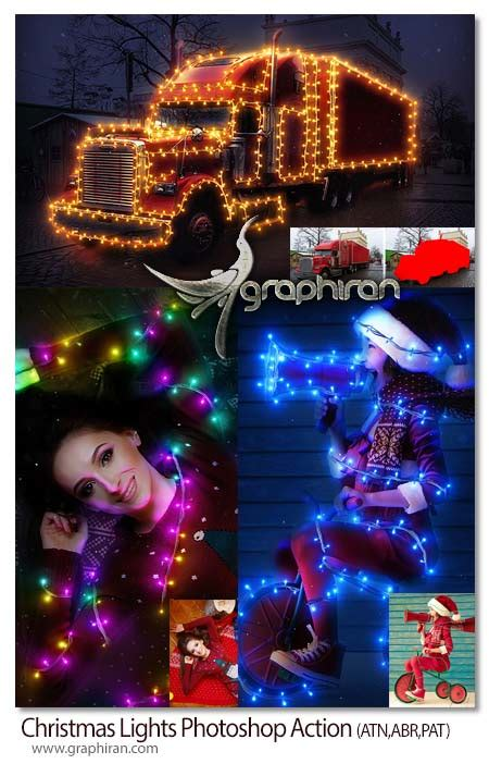 free download christmas light action for photoshop اکشن فتوشاپ چراغ های کریسمس lights photoshop