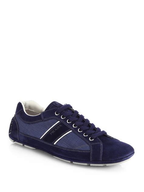 prada sneakers prada suede sneakers in blue for lyst