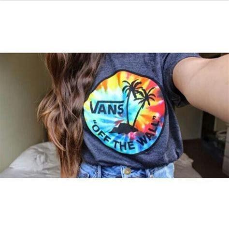 shirt vans tye dye grey shirt rainbow palm tree print