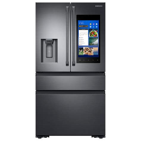 samsung 22 2 cu ft family hub 4 door door polygon handle smart refrigerator in black