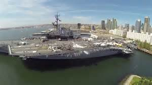 Uss midway aircraft carrier and downtown san diego from above