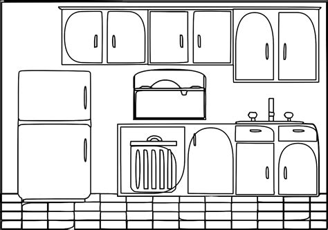 coloring pictures of kitchen kitchen outline clip art 11