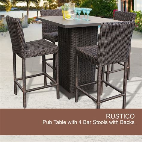 Patio Bar Table Set Outdoor 5 Pub Table Set Wicker Pub Table And Chairs