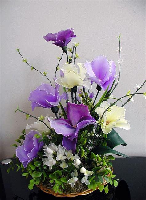 Orchids In A Vase Handmade Colorful Nylon Orchids Arrangement Por Liyunflora