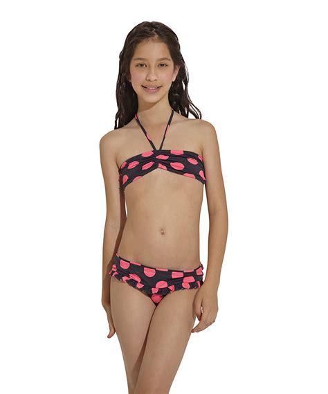 girl preteen models ondademar pink black chicaboom bandeau bikini girls