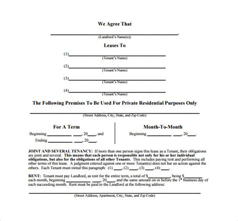 sle month to month lease agreement 8 free documents