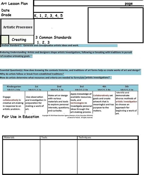 art lesson plan template best business template