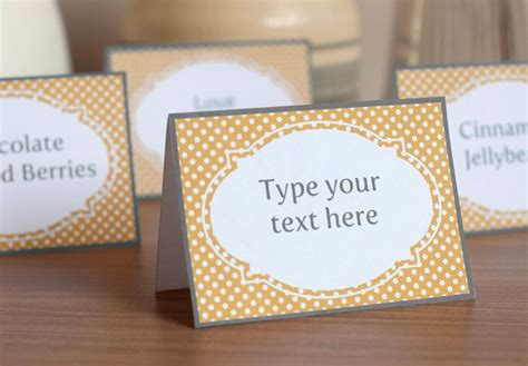 free template food cards printable buffet labels and tent cards polka dots