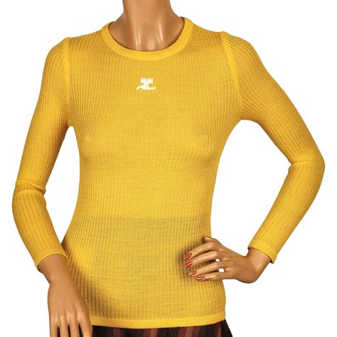 Monkey Yellow Top Knit vintage 70s courreges logo yellow ribbed knit top size s from poppysvintageclothing on